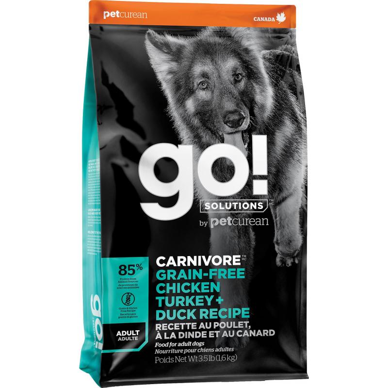 GO! Dog CARNIVORE GF Chicken,Turkey + Duck Adult 1,6kg