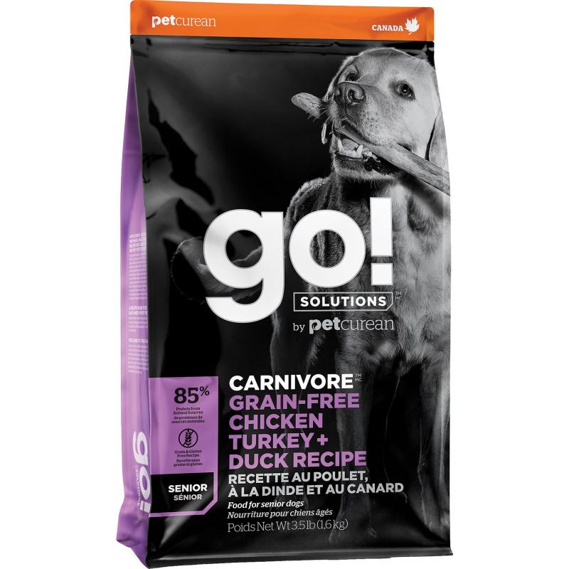 GO! Dog CARNIVORE GF Chicken,Turkey + Duck Senior 10kg