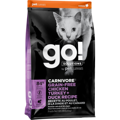 GO! Cat CARNIVORE GF Chicken, Turkey + Duck 7,3kg