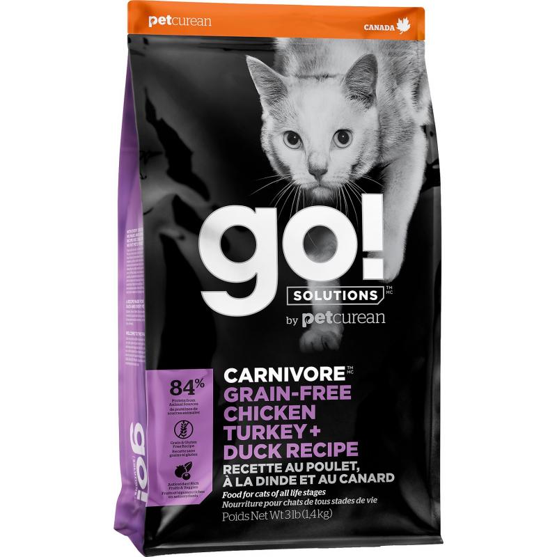 GO! Cat CARNIVORE GF Chicken, Turkey + Duck 7,3kg