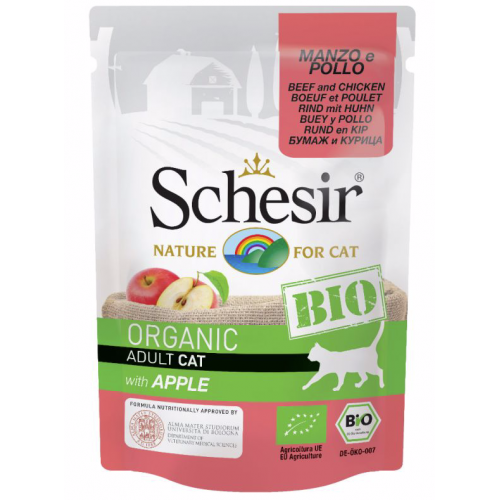 Schesir Chat Boeuf / Poulet / Pomme Bio 85 gr