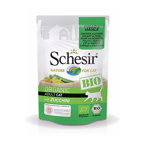 Schesir Chat Bio Poulet / Porc / Courgette 85 gr