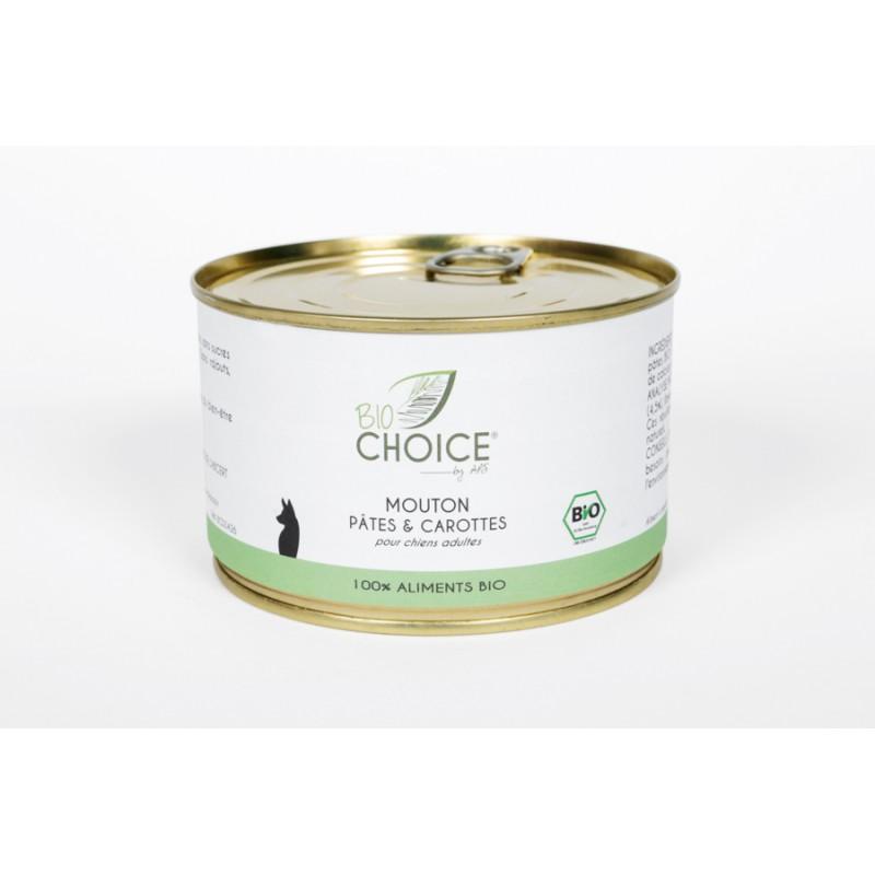 BioChoice Chien  Mouton Pâtes & Carottes boite 400g