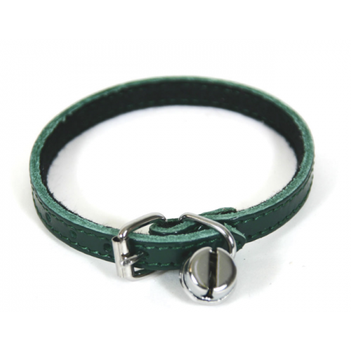 Collier Cuir Chat vert